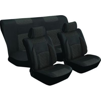 Stingray Majestic Quilted Car Seat Cover Set – 8 Piece (Black/Antracite)