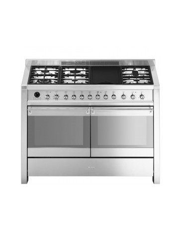 Smeg A4-8: 120cm Stainless Steel Opera Double Cavity Range Cooker