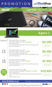 First Shop : Acer Laptops Promo (13 Feb - 19 Feb 2019)