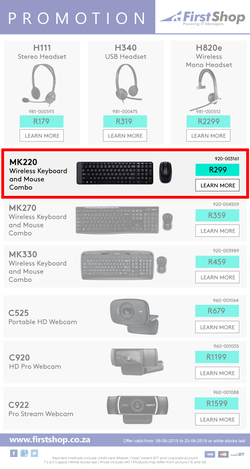 Special Logitech Wireless Keyboard And Mouse Combo MK220