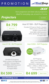 First Shop : Acer Projectors Promo (30 July - 6 Aug 2019)