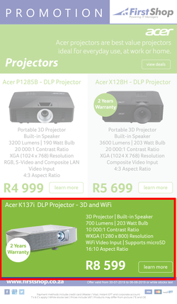 Special Acer K137i DLP Projector-3D And WiFi — www guzzle co za