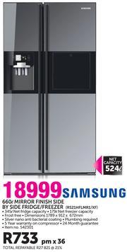 Samsung 660ltr Mirror Finish Side By Side Fridgefreezer Rs21hflmr1