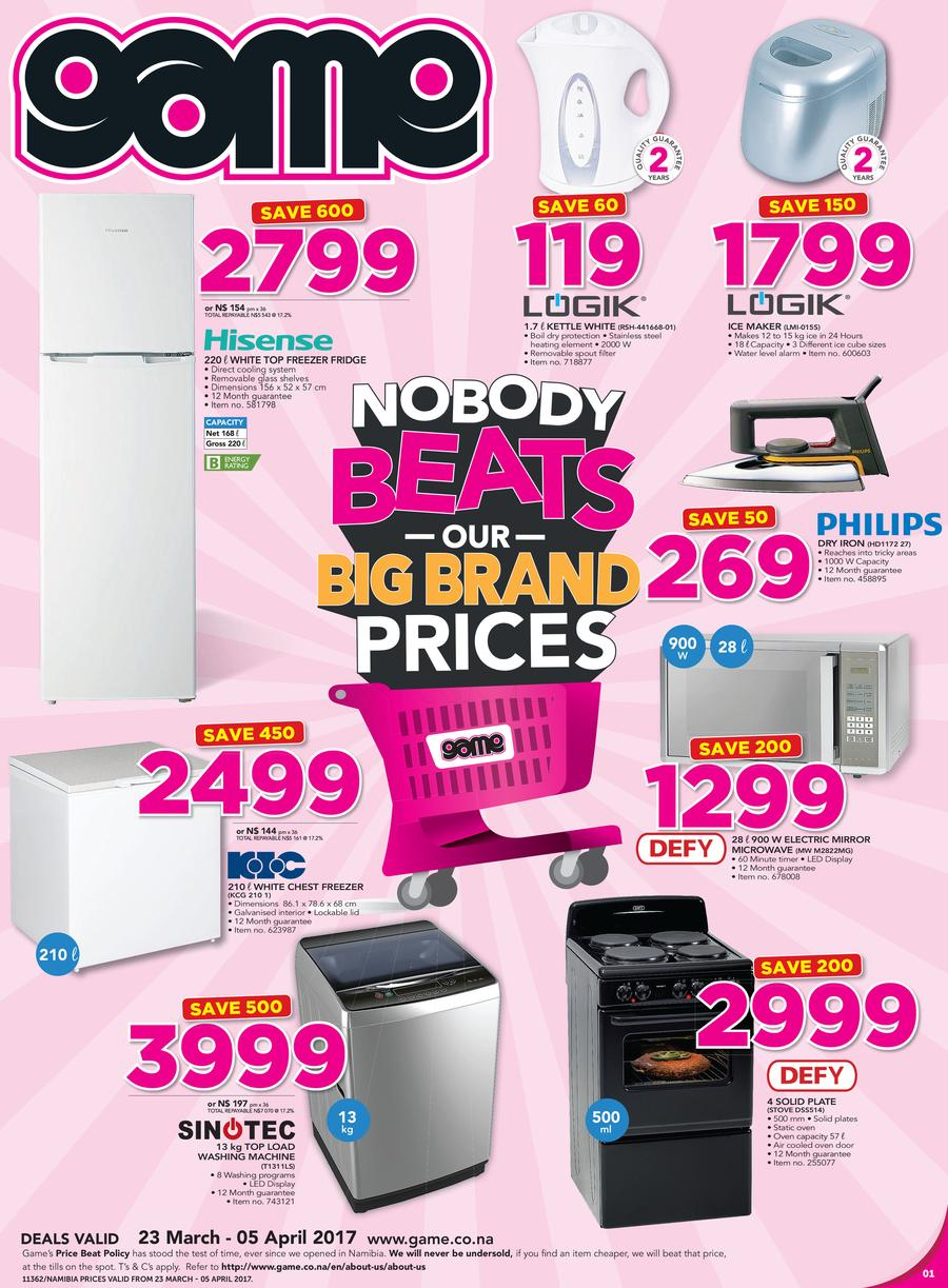 Game Namibia : Nobody Beats Our Big Brand Prices (23 Mar - 5