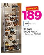 Mainstays 30 Pair Shoe Rack