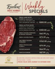 Excellent Meat Market : This Week's Specials (20 October - 25 October 2020)