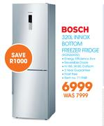 Bosch 320Ltr Innox Bottom Freezer Fridge KGN36X132