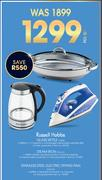 Russell Hobbs Glass Kettle Or Steam Iron RHI-613 Or Stainless Steel Electric Frying Pan-Per Set