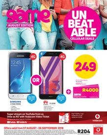 Game Vodacom : Unbeatable Cellular Deals (7 Aug - 6 Sept 2018)