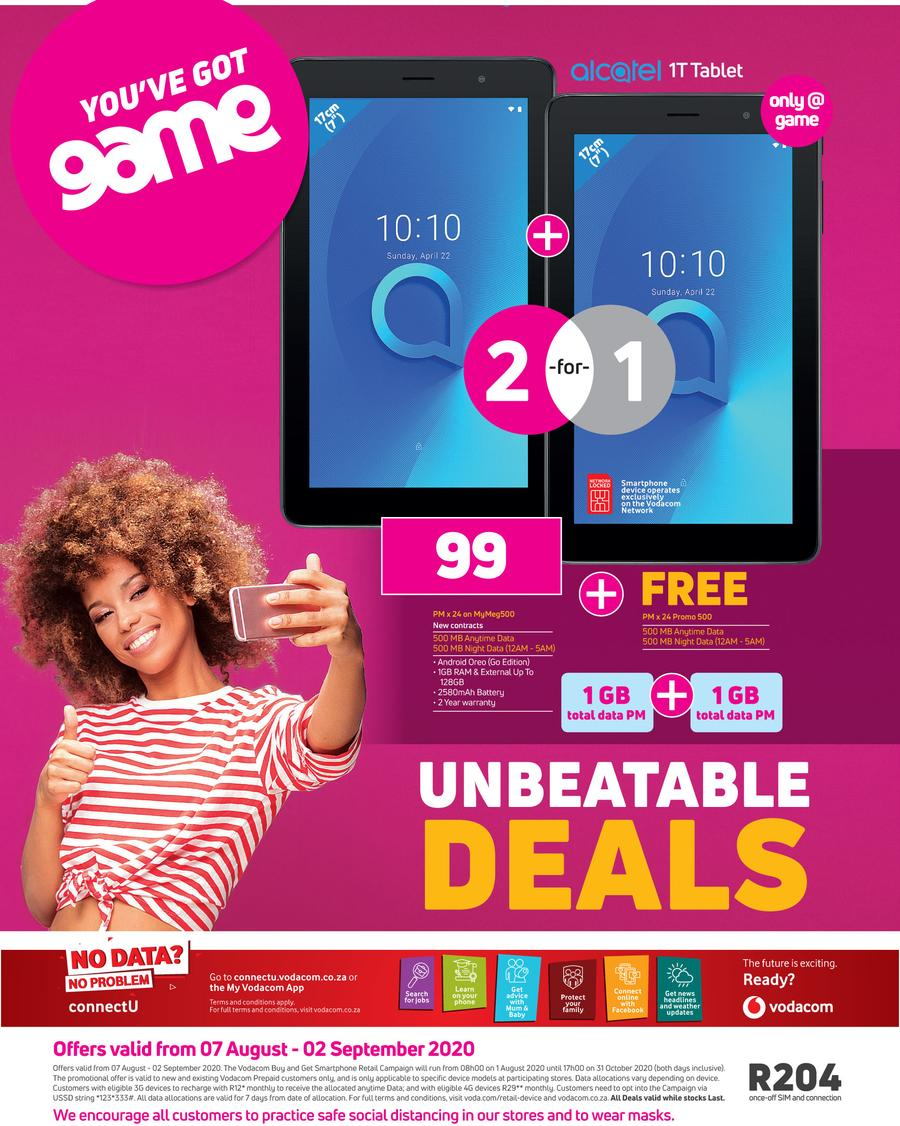 Game Vodacom Unbeatable Deals 7 August 2 September 2020 Www Guzzle Co Za