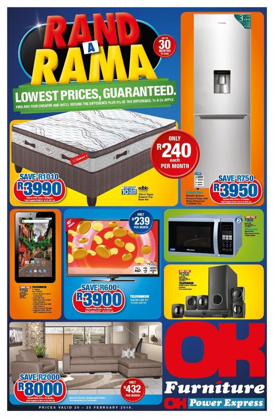 Ok Furniture Rand A Rama 20 Feb 25 Feb 2018 Www Guzzle Co Za