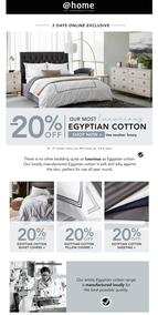 @Home : 20% Off ALL Egyptian Cotton (Request Valid Dates From Retailer)