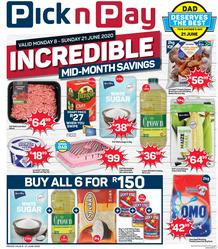 Pick n Pay Western Cape : Incredible Mid-Month Savings (08 June - 21 June 2020)