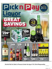 Pick n Pay Liquor : Great Saving On Your Favourite (23 March - 13 April 2020)