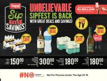 Tops at SPAR Western Cape, Brackenfell, Bergvliet, Greenpoint, Crawford, Somerset West : Unbelievable Sipfest Is Back (23 March - 5 April 2021)
