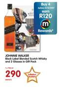 Johnnie Walker Black Label Blended Scotch Whisky And 2 Glasses In Gift Pack-750ml