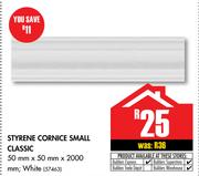 Styrene Cornice Small Classic 50x50x2000mm In White