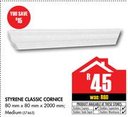 Styrene Classic Cornice Medium 80x80x2000mm