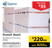Drywall Board (12.5mm x 1.2m x 3m)-Each