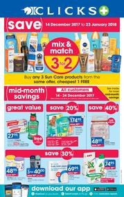 Clicks : Mid Month Savings (14 Dec 2017 - 23 Jan 2018)