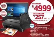 "Dell 15.6"" Celeron Notebook & Printer Bundle"