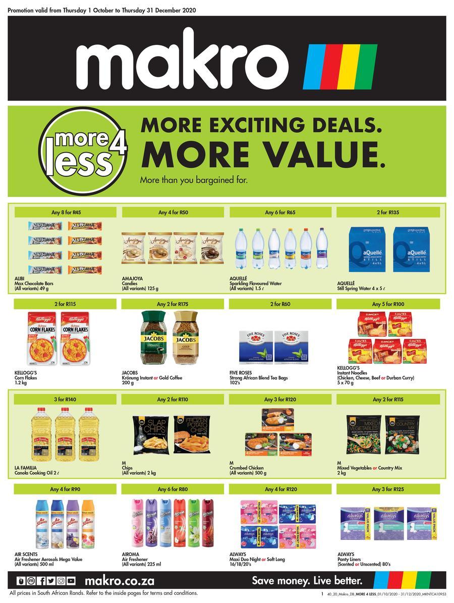 Makro More4less Deals 01 October 31 December 2020 M Guzzle Co Za