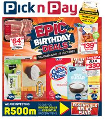 Pick n Pay Eastern Cape :  More Epic Birthday Savings (29 June - 08 July 2020))