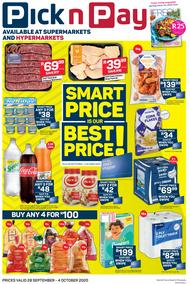 Pick n Pay  Gauteng, Free State, North West, Mpumalanga, Limpopo and Northern Cape : Smart Price Is Our Best Price (28 September - 04 October 2020)