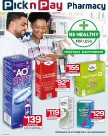 Pick n Pay : Pharmacy Savings (02 Sep - 30 Sep 2019)