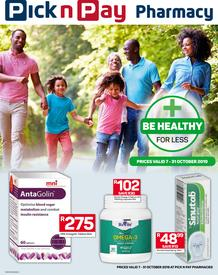 Pick n Pay : Pharmacy (07 Oct - 31 Oct 2019)
