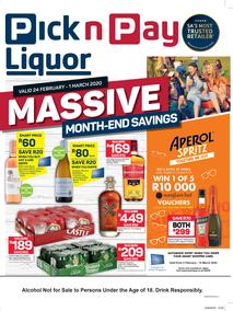 Pick n Pay Liquor : Massive Month-End Savings (24 February - 8 March 2020)