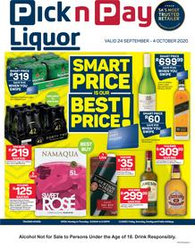 Pick n Pay Liquor : Smart Price Is Best Price! (24 September - 04 October 2020)