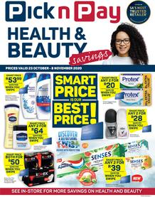 Pick n Pay : Health & Beauty Savings (23 October - 08 November 2020)