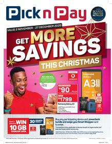 Pick n Pay : Get More Cellular Savings This Christmas (02 November - 27 December 2020)