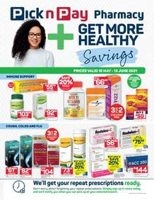 Pick n Pay Pharmacy : Get More Healthy Savings (10 May - 13 June 2021)