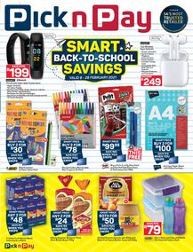 Pick n Pay : Smart Back To School Savings (08 February - 28 February 2021)