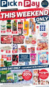 Pick n Pay Western Cape : This Weekend Only (18 Oct - 20 Oct 2019)