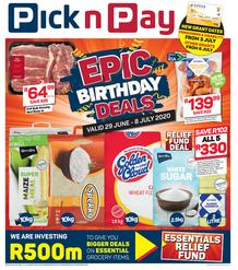 Pick n Pay Western Cape :  More Epic Birthday Savings (29 June - 08 July 2020)