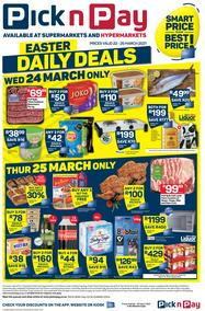 Pick n Pay Western Cape : Easter Daily Deals (22 March - 25 March 2021)