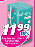 Special Stayfree Maxi-Thick Sanitary Pads 10's-Each — www