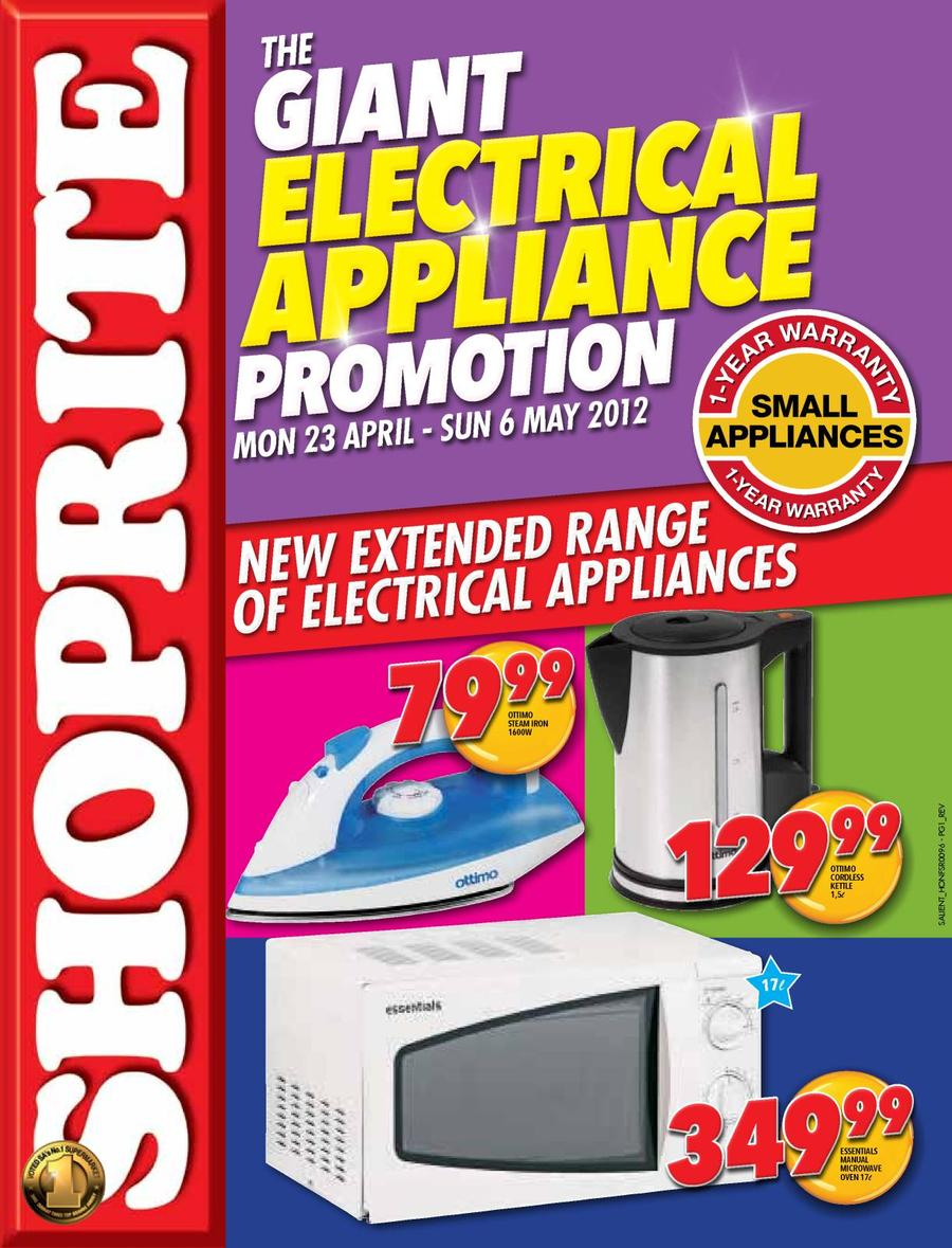 Shoprite Gauteng : Electrical Appliance (23 Apr - 6 May) — m guzzle