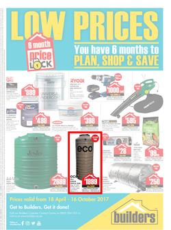 Builders : Low Prices Price Lock (18 April - 16 October 2017), page 1
