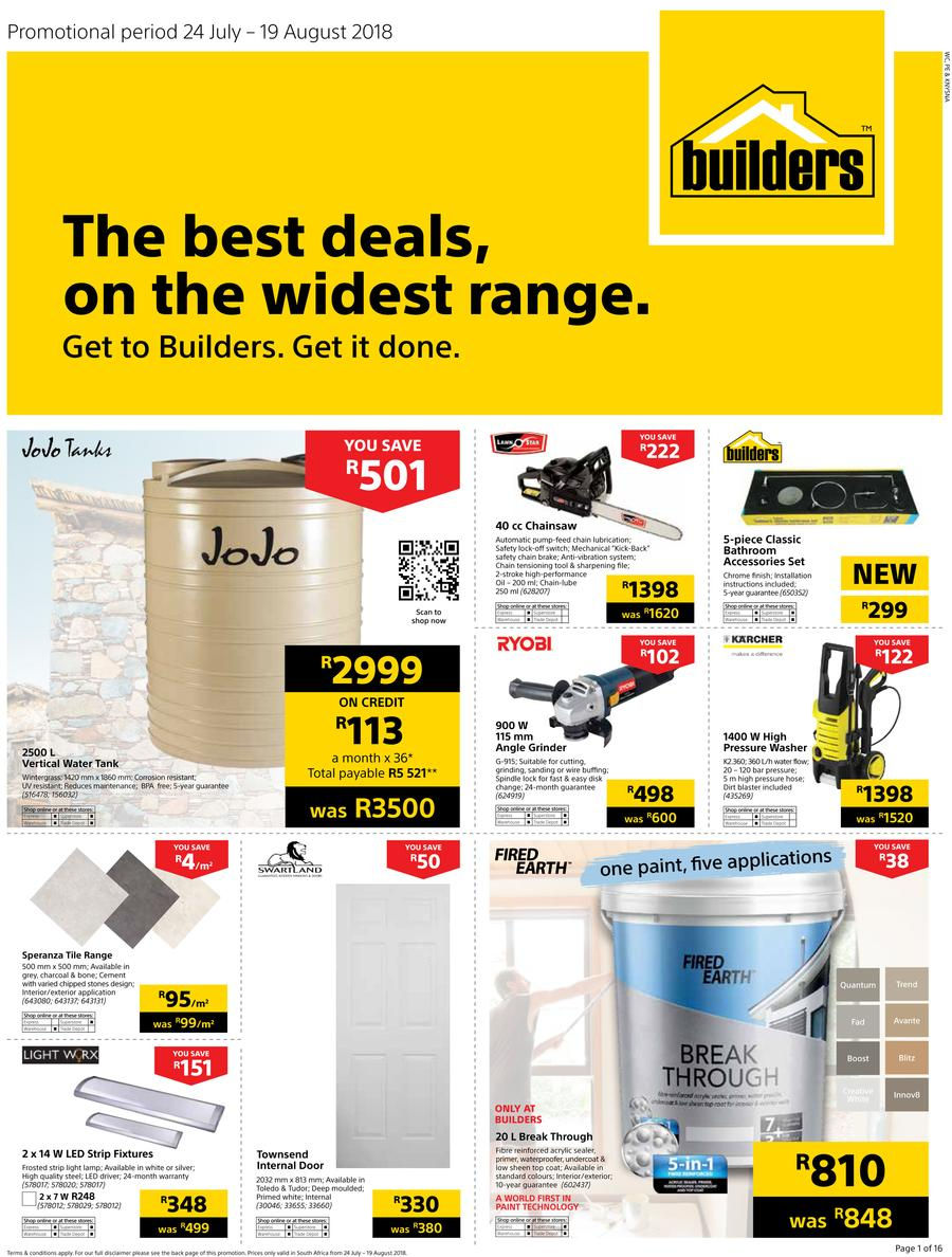 Builders WC & PE : The Best Deals On The Widest Range (24 July - 19 Aug 2018)