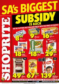 Shoprite : Subsidy Promotion (15 Oct - 18 Nov 2018)