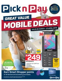 Pick n Pay : Mobile Deals (25 Mar - 21 Apr 2019)