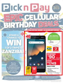 Pick n Pay Hyper : Epic Cellular Birthday Deals (24 Jun - 04 Aug 2019), page 1