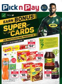 Pick n Pay  : Earn Bonus Rugby Super Cards (07 Oct - 20 Oct 2019)