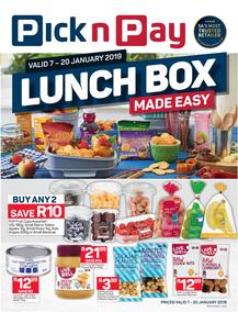 Pick n Pay Western Cape : Lunchbox Made Easy (07 Jan - 20 Jan 2019)