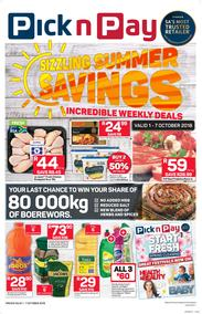 Pick n Pay Western Cape : Sizzling Summer Savings (01 Oct - 07 Oct 2018)