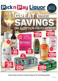 Pick n Pay : Great Savings On Liquor (21 Jan - 03 Feb 2019)